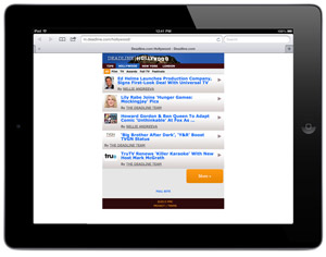 Deadline Hollywood mobile site on an iPad