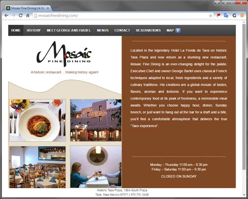 Website for Fine Dining